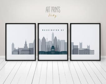 Washington DC art prints, posters, travel wall art, 3 pieces of Washington DC skyline, city poster, travel, gift, home decor, ArtPrintsVicky