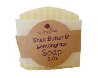 Shea Butter & Lemongrass Soap 3 Oz - Homemade Soap - Home Crafted Soap - Essential Oil Soap - PH Balanced Soap - Natural Coconut Oil Soap