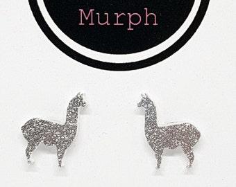 Laser Cut Acrylic Llama Silver Glitter Earrings Studs