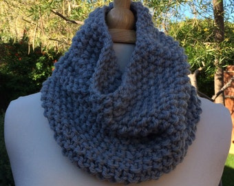 Hand Knitted Grey Cowl, Grey Cowl/Scarf, Knit Grey Cowl