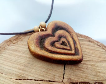 Little Heart Wood Pendant, Artisan Jewelry Handmade, Wood Heart Necklace