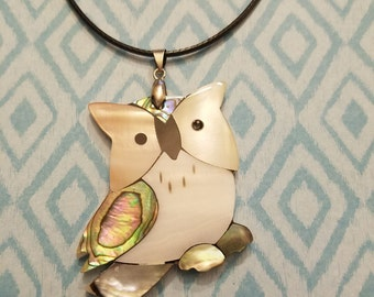 Abalone Shell Owl Necklace, Pendant