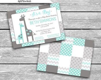 5x7 Customized Digital Download - Baby Shower Invitation Front & FREE Back Coordinates With The Peanut Shell Uptown Giraffe - Printable JPG