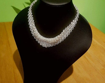 Solid sterling silver chainmail necklace