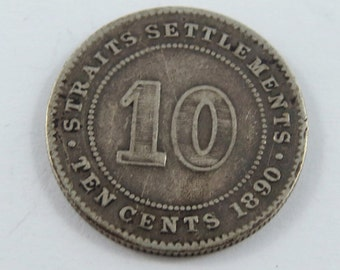 Straits Settlements 1890 H Silver 10 Cents Coin.
