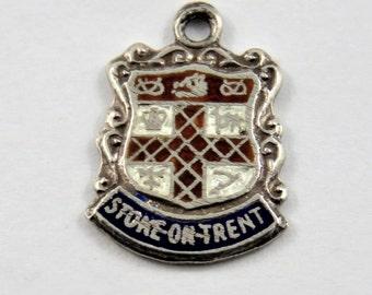Enameled Stoke on Trent England Travel Shield Sterling Silver Charm or Pendant.