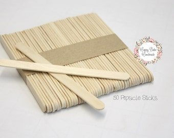 Popsicle Sticks, 50 Pack, Wooden Popsicle Sticks, 4--1/2 Inch, Ice Cream Sticks, Wooden Craft Sticks, Wooden Art Supplies, Craft Supplies