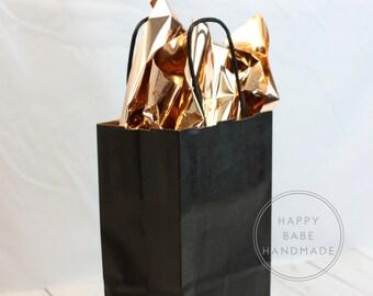 Black Paper Bags, 10 Bags, Black Gift Bags, 5-1/2 x 3-1/4 x 8-3/8 Inch, Black Bags, Black Wedding Favor, Black Favor Bag, Bridal Shower Bag