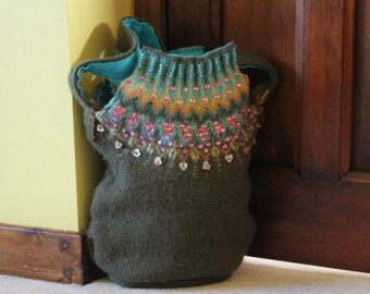Upcycled Shoulder Bag In Moss Green with Fair Isle Pattern And Lots Of Beading, Bright Blue Lining, An Inner Pocket And Closes With A Zip.