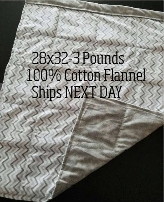 Weighted Blanket, 3 Pound, 28x32, READY TO SHIP.  One Business Day Turn Around.  Gray Chevron, Gray Tie Dye Backing