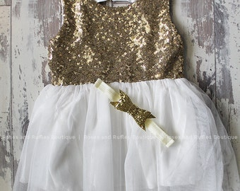 Antique White & Gold Baby Dress, Baby Girl Dress, Baby Tutu Dress, Princess Dress, Baby Photo Prop, Toddler Dress, Baby Pageant Dress