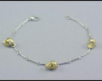 Skull bracelet, silver skull bracelet, skeleton bracelet, silver and gold skull bracelet, sterling silver, skull jewelry, delicate