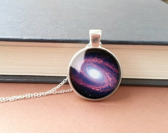 Space Necklace Bode's Galaxy Pendant Messier 81 Glass Pendant Geek Gift Galaxy Necklace Space Pendant Boho Bridesmaid Purple Science Jewelry