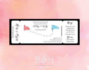 Boarding Pass Wedding Invitation, Destination Wedding Invite, Travel Wedding, TIcket, Printable Custom Wedding Invitation, Digital Download