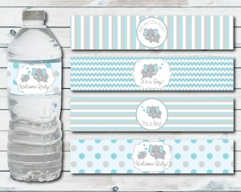 Water Bottle Labels Elephant Baby Shower, Printable Water Bottle Label In Blue And Gray Chevron Elephant, Elephant Baby Shower Decor
