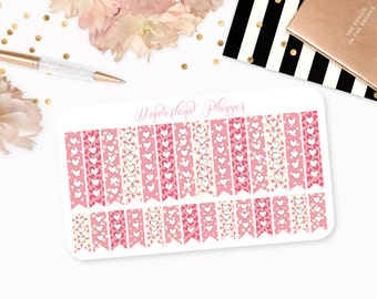 Valentine Hearts - Valentines Day Planner Stickers // Checklists // Perfect for Erin Condren Vertical Life Planner