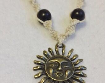 Sun Pendant Hemp Necklace