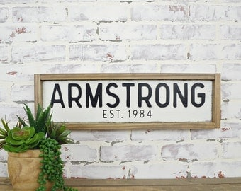 family name custom sign rustic home decor customized signs personalized sign farmhouse sign fixer upper decor framed sign custom gift - Custom Signs For Home Decor