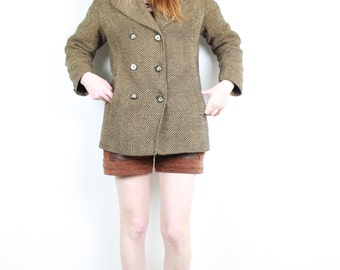 French Vintage 1970s 70's Chevron Wool Coat / Herringbone Brown Wool Tweed Double Breasted Mod long jacket / Made in France Size S M