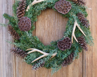 Winter Wreath, Antler Wreath, Natural Wreath, Pinecone Wreath, Evergreen Wreath, Front Door Wreath, Antlers, Woodsy Wreath, Holiday Decor