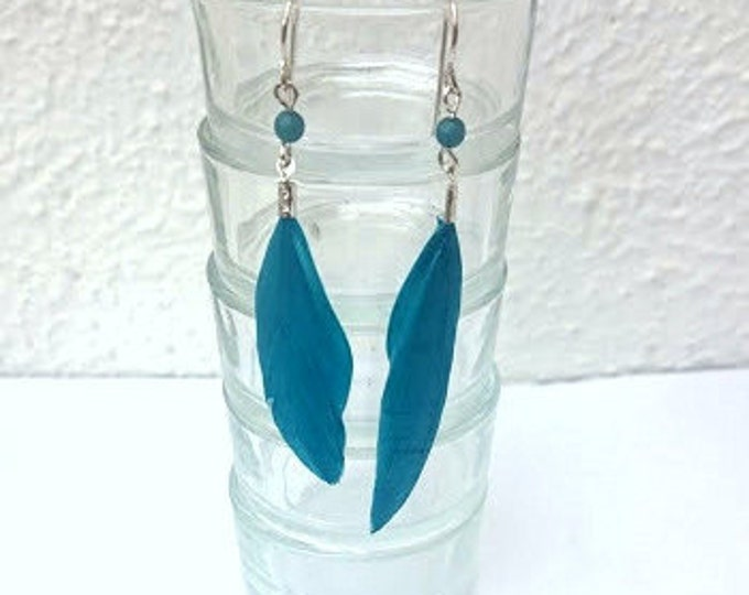 Turquiose Feather earrings Drop earrings Turquoise jewelry Handmade jewellery Gift for her Dangle earrings Boho earrings Unique earrings