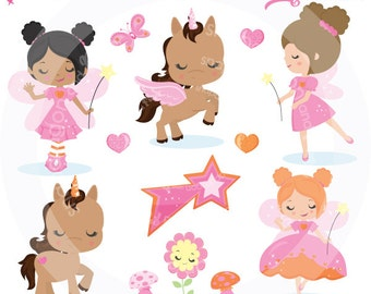 Fairy Clipart, Fairy Party clipart, Fairy Princess clipart, unicorn clipart, Fairy clip art, Spring Fairy, Commercial License Included