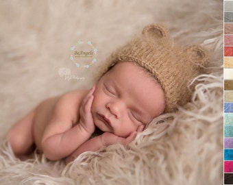 Newborn bear hat and tieback | Different colors |  Newborn bear  bonnet and tieback | Animal hat |  Bear props | Newborn animal bonnet