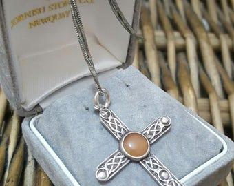 Vintage sterling silver necklace, celtic cross with agate, shetland