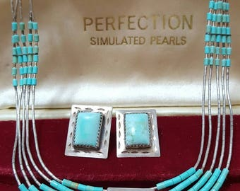 Vintage sterling silver necklace & earrings set native american design,turquoise
