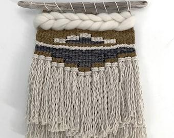 Handmade Woven Wall Hanging || Ochre and Plum Weaving