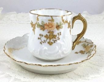 Antique Elite Limoges, Martial Redon France, Demitasse Cup and Saucer, 1800's