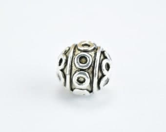 8mm Silver Alloy Beads Tibetan Style Antique Silver Alloy Metal Bracelets Charm Hole Size 1mm For Jewelry