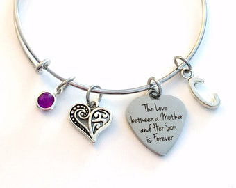 The love between a mother and her son is forever Jewelry, Gift for Mom Charm Bracelet Silver Bangle birthstone initial letter Present Step