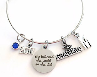 Graduation Bracelet, Graduation Gift 2017 2018 Student Grad Silver Bangle She believed she could so she did University Jewelry College Charm