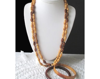 Bead Necklace And Bangle Bracelets * Wood Design * Lot Of Three * Long Bead Necklace * Gift For Her