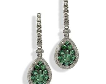Emerald earrings, tiny diamond earrings, dangle earrings, bridal earrings, anniversary gift