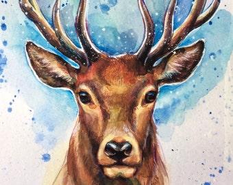 Deer fine art archival print, stag, watercolor, animal art, giclee print, Illustration