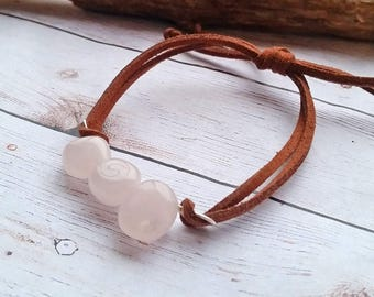 Rose Quartz Tumbled Nuggets & Genuine Suede Leather Adjustable Bracelet / Maine made Jewelry / Gift for Her / Pink Quartz / Natural Gemstone