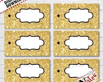 Gold Gift Tags, Gift Bag Tags for Wedding, Welcome Bag Labels, Glitter Labels, Holiday Gift Tags, Gold Favor Tags, Package Tags | PRINTABLE