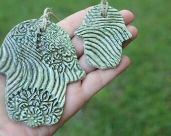 Ceramic Hamsa. Set of 2 green Hamsa. Luck Hamsa. Handmade Hamsa. Pottery Hamsa. Garden decor. Wall decor. Home decor. Decoration Hamsa. Clay