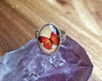 Butterfly Ring Orange Butterfly Ring Adjustable Ring Spring Jewellery Summer Jewellery Statement Ring Silver Plated Womens Ring SPR30