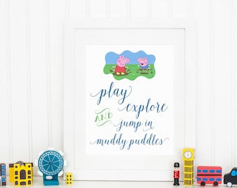 Peppa Pig Christmas Gift, Printable Jump in Muddy Puddles Art, George Pig, Birthday Party Sign, Peppa Pig Decor, Playroom, Instant Download