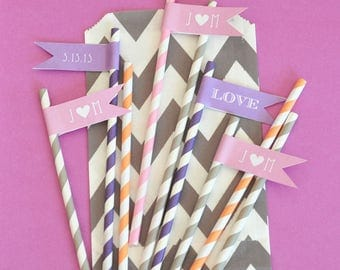 Personalized Flag Labels - Baby Straw Flags - Birthday Straw Tags - Party Favor Tags - Cake Pop Tags - Baby Shower Labels - Cupcake Toppers