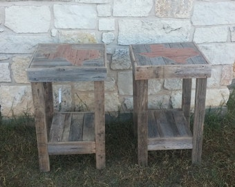 Wood Side Table Nightstand Rustic Furniture Texas Home Decor