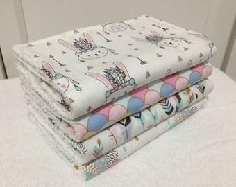 Baby Burp Cloths Set, Pink Tribal animals burp cloth set, New Mum gift, Nappy bag, Animal burp cloth, Feather burpcloth, Metallic burp cloth