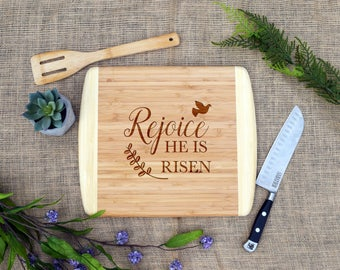 Easter hostess gift etsy rejoice he is risen cutting board easter cutting board cheese board custom negle Images