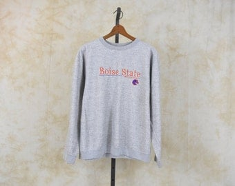 90s University Sweatshirt 90's BOISE STATE University Shirt College Long Sleeve Embroidered Slouchy Grey Gray 1990s Sweater Vintage Large