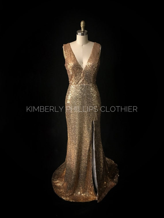 Gold Sequin Prom Dress, Bridesmaid dress Plunge Neckline, Open Back, Full Length, Slitted, Mermaid, Train