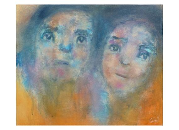 tableau portrait couple multicolore visage homme femme. Black Bedroom Furniture Sets. Home Design Ideas