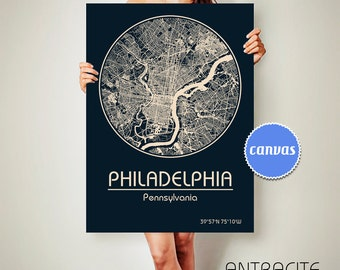 PHILADELPHIA Pennsylvania CANVAS Map Philadelphia Pennsylvania Poster City Map Philadelphia Pennsylvania Art Print Philadelphia Pennsylvania